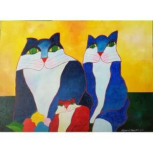 ALDEMIR MARTINS, Família de Gatos com flores - Acrílica sobre tela - 60x80 cm - ACID 2000 (Com certificado de autenticidade emitido pelo instituto)