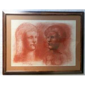 Marcelo Grassmann - Sanguínea sobre papel , nas medidas de 47 X 67 e 67 X 87 C/ Moldura. Obra reproduzida no catalogo James Lisboa.