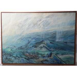 Antonio Vitor , nas medidas de 80 X 114 , titulo = Montanhas /vapor/chuva = 1982 , o.s.t.