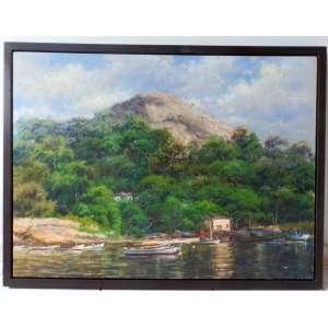 João Bosco Campos - paisagem , óleo sobre placa , nas medidas de 60 X 80