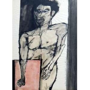 Aldemir Martins - Auto Retrato - Nanquim Sobre Papel - 64 X 47 cm - 1965 - Acompanha Certificado de Autenticidade emitido pelo Estúdio Aldemir Martins