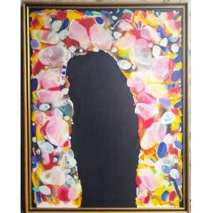 Kenichi kaneko , nas medidas de 130 x 100, óleo sobre tela, ass. Frente e verso, datado 1990, reproduzido no catálogo James Lisboa, ( 375).