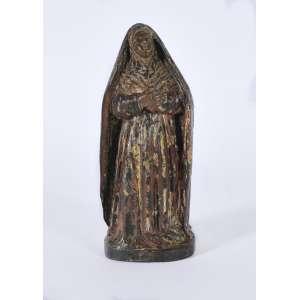 Imagem de Santa Rita de Cassia, século XIX em madeira com resquícios de policromia<br />22 cm.<br />