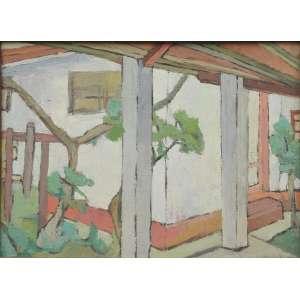 Jeannette Chevalier, Varanda, óleo sobre tela, assinado e datado 66 inferior direito, 55 x 73 cm.
