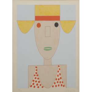 Gustavo Rosa, Menina de chapéu, litografia, assinada datada 84 inferior direito, numerada 95/100 inferior esquerdo, 50 x 40 cm.<br />