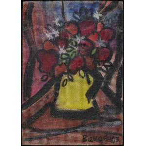 Aldo Bonadei, óleo sobre placa , assinado e datado 73 inferior direito , 19 x 13 cm