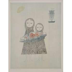 Keiko Minami, gravura, assinado inferior direito, prova do artista inferior esquerdo, 40 x 30 cm.<br />