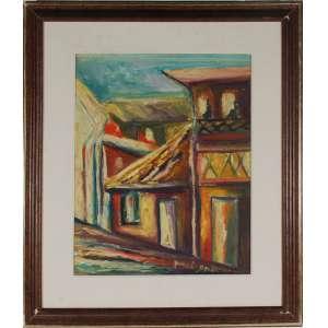 Meirel Barbi, Casarão, óleo sobre tela, assinado inferior esquerdo, datado 87 e com dedicatória no verso, 50 x 40 cm.<br />