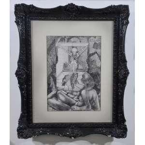 Emiliano Di Cavalcanti, Caveira e mulata, nanquim sobre papel, assinada superior direito, 36 x 25 cm