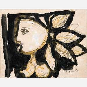 Milton Dacosta<br />Nanquim, grafite e hidrocor sobre papel, assinado inferior direito, 14 x 18 cm.