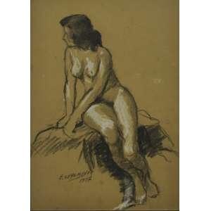 Edgar Oehlmeyer<br />Nu feminino, pastel sobre papel, assinado e datado 1957, inferior esquerdo, 30 x 22 cm.