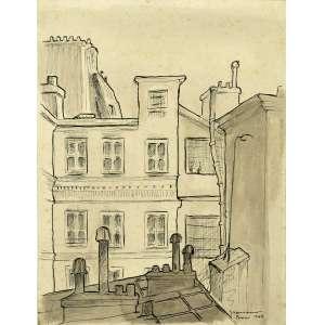 Clóvis Graciano<br />Nanquim sobre papel, assinado, datado 1949 e situado Paris, inferior direito, 34 x 26 cm.