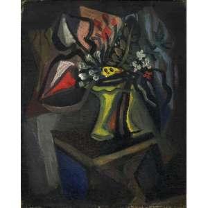 Emiliano Di Cavalcanti<br />Vaso de Flores, óleo sobre tela, Déc. 50, assinado no verso, 24 x 20 cm.