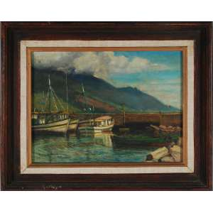 Sullivan Gaspar<br />Paisagem de São Sebastião, óleo sobre tela, assinado e datado 1986 inferior esquerdo, assinado e titulado no verso.<br />30 x 40 cm.