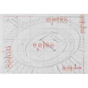 Paulo Climachauska<br />Projeto para Maracanã 0x0, grafite e hidrográfica em papel de seda, titulado superior esquerdo, assinado e datado 2003 no verso.<br />22 x 32 cm. (sem moldura)