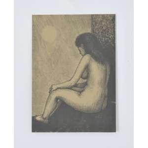 João Câmara<br />Figura feminina, gravura em metal, com dedicatória a Oscar Cruz, assinado e datado 1983 no verso. <br />24 x 17 cm.