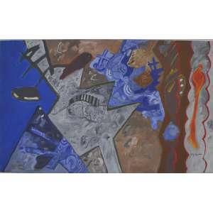 Luiz Áquila <br />Pintura com linhas curvas a direita, acrílica sobre tela, assinado inferior direito, assinado datado 1990/2006 e titulado no verso. <br />80 x 130 cm.