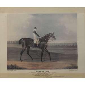 John Frederick Herring<br />Filho da Puta, O Cavalo vencedor do grande prêmio ST. Leger, At. Doncaster 1815, gravado por Mr. Sutherland. <br />40 x 50 cm.