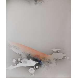 Kenji Fukuda<br />Composição, acrílica sobre tela, assinado inferior direito, assinado e datado, 89 no verso.<br />130 x 110 cm.