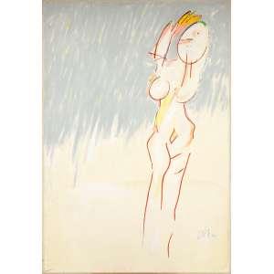 Ivald Granato<br />Figura feminina, 1996, técnica mista sobre papel colado em tela, assinado inferior direito.<br />155 x 105 cm.