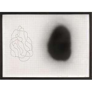 José Damasceno<br />Caneta hidrográfica e spray sobre papel milimetrado, assinado e datado 2006, inferior direito.<br />30 x 42 cm