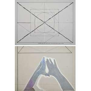 Rubens Gerchman<br />Geometria Magica 1 e 2, 1974, Grafite, nanquim, e crayon.<br />48 x 66 cm. (cada), (sem moldura).