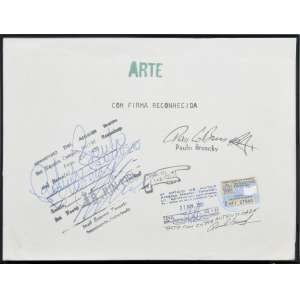 Paulo Bruscky<br />Arte com Firma Reconhecida, técnica mista sobre papel, assinado superior direito. <br />21 x 30 cm.