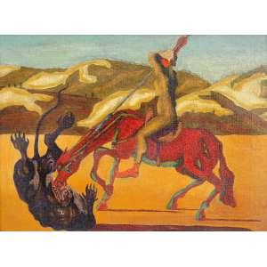 Israel Pedroza<br />Ogun, óleo sobre tela, assinado e datado 1951 do lado direito e no verso.<br />30 x 40 cm.