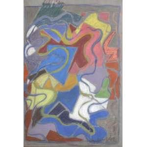 Luiz Aquila<br />Guache e pastel seco sobre papel, assinado e datado 1993, inferior direito. <br />45 x 30 cm.