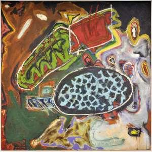 Efrain de Almeida<br />Óleo sobre tela, assinado e datado 1987, inferior direito. <br />100 x 100 cm.