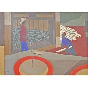 Djanira da Motta e Silva<br />Serigrafia, assinada e datado, 1966 na chapa. <br />32 x 49 cm.