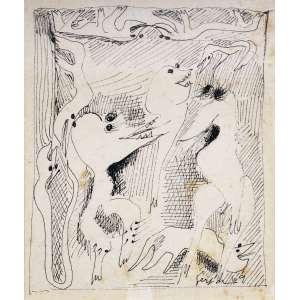 Ivan Serpa <br />Nanquim sobre cartão, assinado e datado 69 inferior direito. <br />11 x 12 cm.