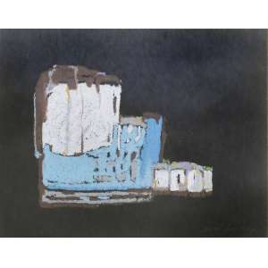 Maria Leontina <br />Composição, pastel sobre cartão, assinado e datado 61 inferior direito. <br />32 x 24 cm.