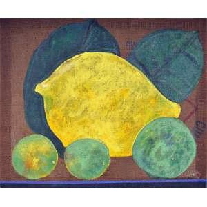 Aldemir Martins<br />Frutas, 1987, acrílica sobre juta, com certificado do Estúdio Aldemir Martins. <br />90 x 110 cm.