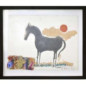 Aldemir Martins<br />Cavalo, colagem e tinta acrílica sobre papel, assinado e com dedicatória a Umberto, inferior direito. <br />36 x 52 cm.