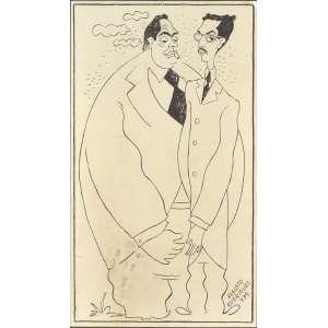 Augusto Rodrigues <br />Retratos de Acenso Ferreira e Odorico Tavares, nanquim sobre papel, assinado e datado 1939, inferior direito. <br />30 x 17 cm.