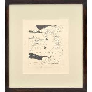 Luiz Canabrava <br />Figura feminina, desenho a nanquim, assinado e datado 1950, inferior direito. <br />20 x 17 cm.
