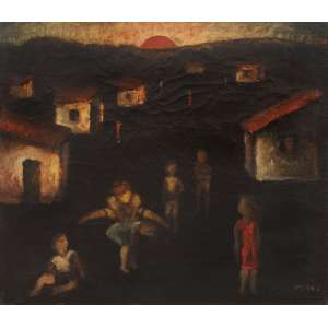 Orlando Teruz<br />Pulando Carniça, óleo sobre tela, assinado, datado 1966 e situado Rio no verso.<br />38 x 46 cm. Reproduzido no livro, 150 Anos de Pintura no Brasil, página 395.