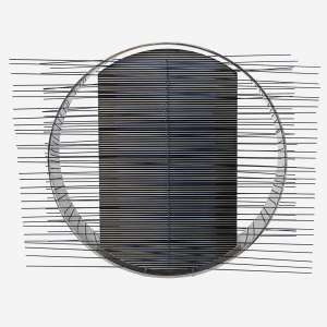 Jesús Rafael Soto <br />Estrela em circulo, 1975. Silkscreen em aço inox e metal pintado, Edição 58/75. <br />52 x 60 x 32 cm.