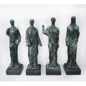 Ceschiatti <br />São Matheus, São Marcos, São João e São Lucas. Conjunto com quatro esculturas em bronze, assinadas na base. <br />106 cm, 105 cm, 106 cm e 108 cm.