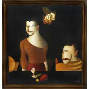 """Caulos – Luiz Carlos Coutinho <br />Commedia Dell""""arte N.11, óleo sobre tela. <br />100 x 100 cm."""