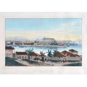 Eugène Cicére Philippe Benoist <br />Rio de Janeiro, Ilha das Cobras, litografia, impresso por Lemercier, Paris. <br />44 x 70 cm.