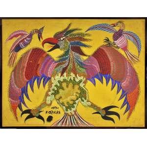Chico da Silva <br />Aves. Óleo sobre tela. Assinado, datado 1971 inferior esquerdo. <br />53 x 70 cm.