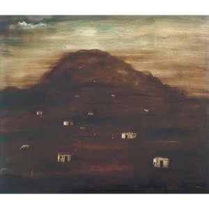 Orlando Teruz <br />Morro, óleo sobre tela, assinado inferior direito, assinado, datado 1968 e situado Rio no verso.<br />80 x 100 cm.