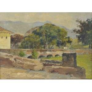 Teixeira da Rocha<br />Óleo sobre madeira. Assinado e datado 1896 inferior esquerdo. Com estudo no verso. <br />22 x 29 cm.