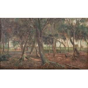 José Marques Campão <br />Paisagem com casa e bosque. Óleo sobre tela. Assinado e datado 1947 inferior esquerdo. <br />35 x 60 cm.