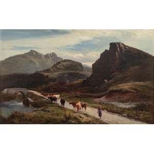 Sidney Richard Percy<br />Pastoreando gado. Óleo sobre tela. Assinado e datado 1876 inferior direito. <br />38 x 61 cm.