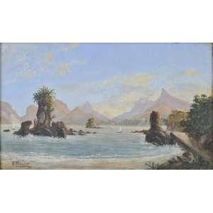 Henrique Tribolet <br />Marinha. Óleo sobre madeira. Assinado e datado 1897 inferior esquerdo. <br />16 x 27 cm.