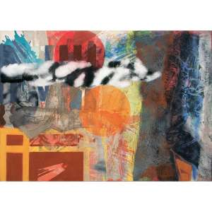 Carlos Vergara <br />Monotipia, Pigmentos e pintura sobre lona crua. Assinado e datado 04 2010 no verso. <br />130 x 185 cm.