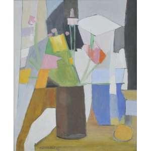 Aldo Bonadei<br />Vaso com flores. Óleo sobre tela. Assinado e datado 70 inferior esquerdo.<br />60 x 50 cm.